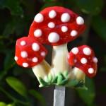 Fused glass mushrooms garden stake art