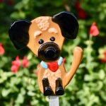 Fused glass brown dog garden art