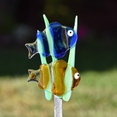 Fused glass clown fish garden stake art