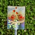Fused glass love birds garden stake art