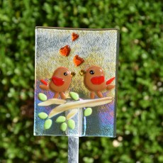 Fused glass love birds garden stake art