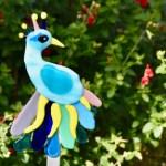Fused glass blue peacock garden art