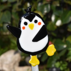 Fused glass angel happy penguin garden art