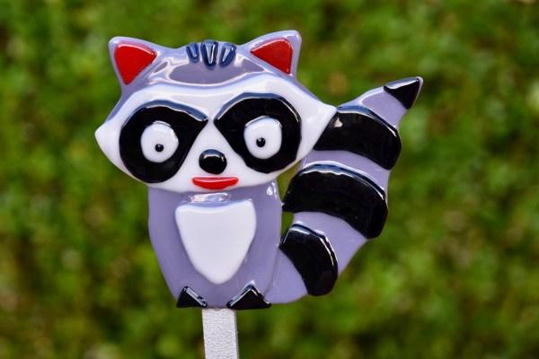 Fused glass grey raccoon garden stake art
