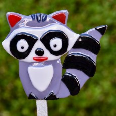 Fused glass grey raccoon garden stake art