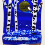 Fused Glass Birch Trees in Moonlight Nightlight