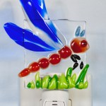 Fused glass dragonfly nightlight