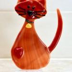 Fused glass orange cat statue