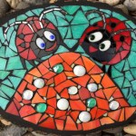 Mosaic lady bugs mosaic plaque