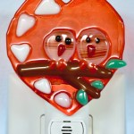 Fused glass lovebirds on red heart nightlight