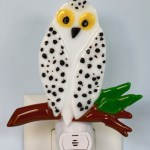 Fused Glass White Snowy Owl Nightlight