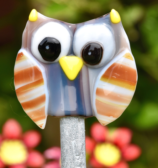 Fused Glass Brown & Grey Owl