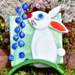 Fused Glass Bunny Sniffing Bluebonnet