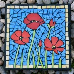 Mosaic Red Poppy Stepping Stone made from colored glass