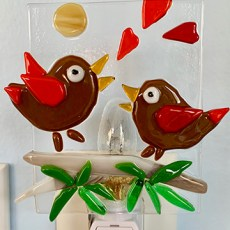 Fused Glass In-love birds singing nightlight