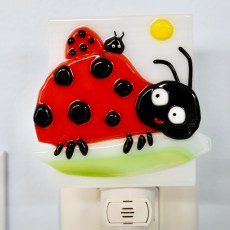 Fused Glass Mom and Baby Ladybug Night Light