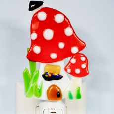 Fused Glass Red Magic Mushroom