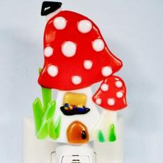 Fused Glass Red Magic Mushroom