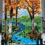 Fused Glass Birch Scene