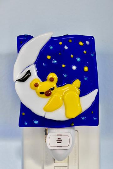 Fused Glass Moon Bear Nightlight