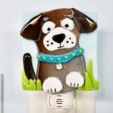Brown Dog Fused Glass Night Light