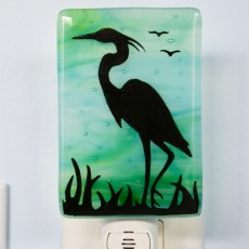 Egret Fused Glass Night Light