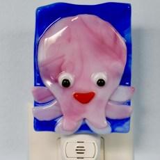 Pink Glass Octopus Night Light