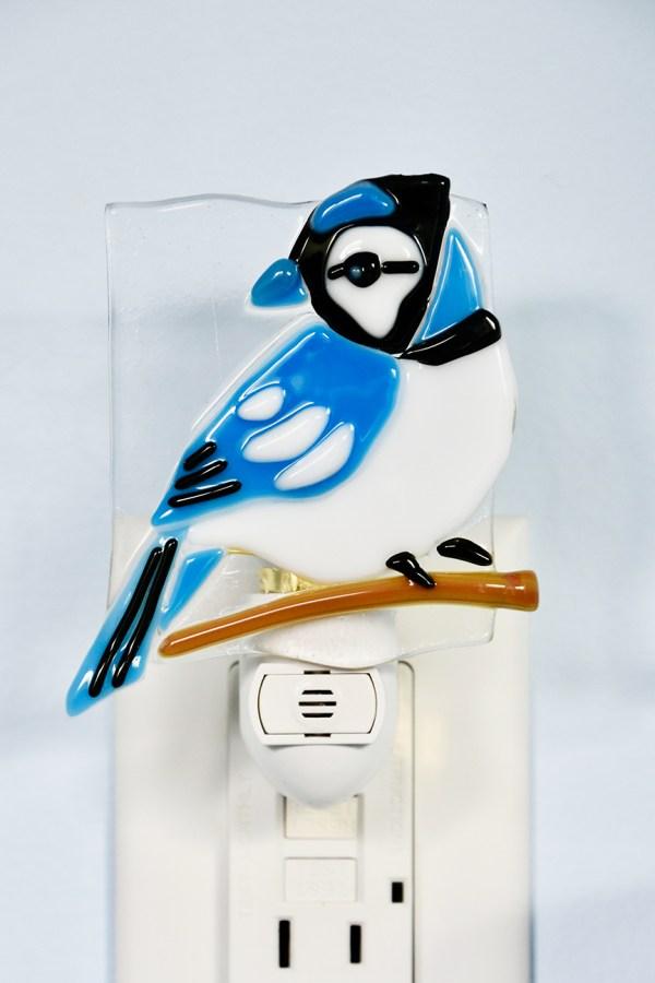 Blue Jay Glass Night Light