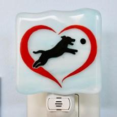 Heart Dog Chasing Ball Night Light