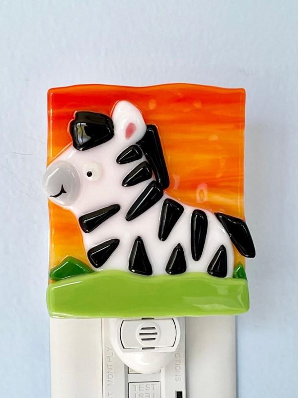 Zebra Fused Glass Night Light
