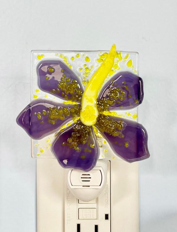 hibiscus fused glass night light