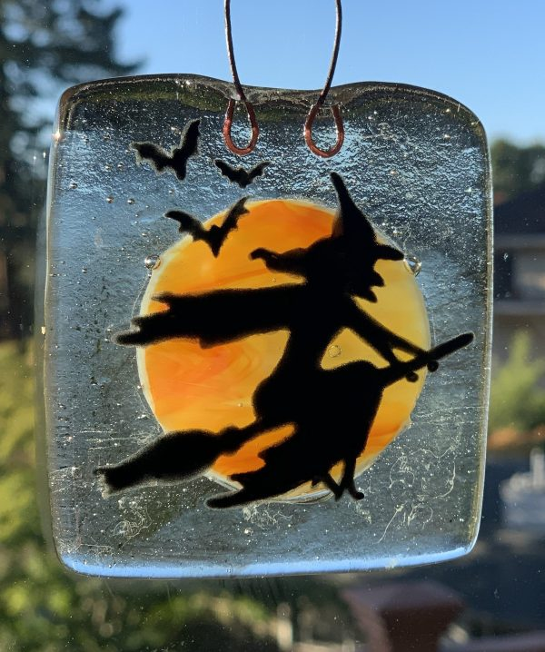 Witch Fused Glass Window Hanger
