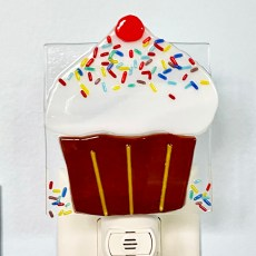 Cupcake Fused Glass Night Light