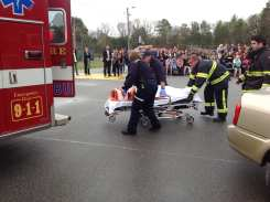Mock DUI scenario we conduct annually for High School Juniors and Seniors at MHS.