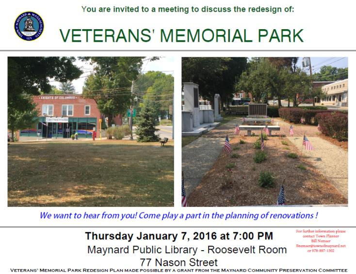Veterans Memorial Park Notice