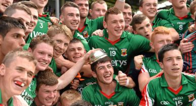 The Mayo minors celebrate after beating Roscommon in the Connacht MFC in MacHale Park, July 2014. Pic: Sportsfile