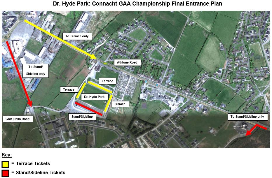 2015 Connacht final Hyde Park access routes map