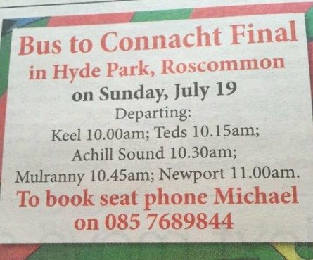 2015 Connacht final bus details from Achill