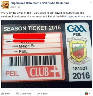 supermacs coffee offer for Mayo fans