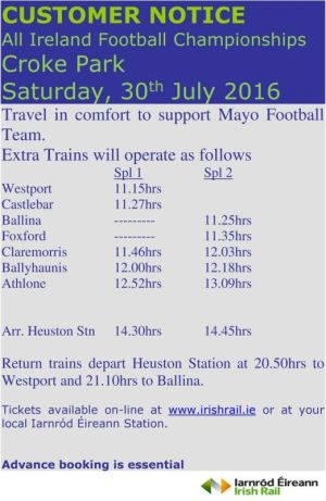 mayo v westmeath special trains