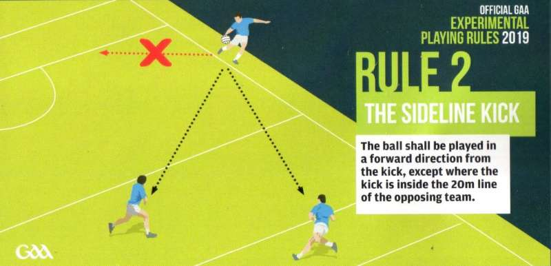 experimental rule changes for football in 2019-sideline kick