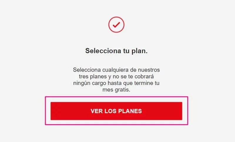 pantalla de Netflix en la web, selección del plan