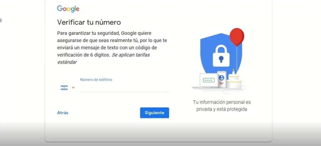 como verificar numero para crear cuenta de gmail
