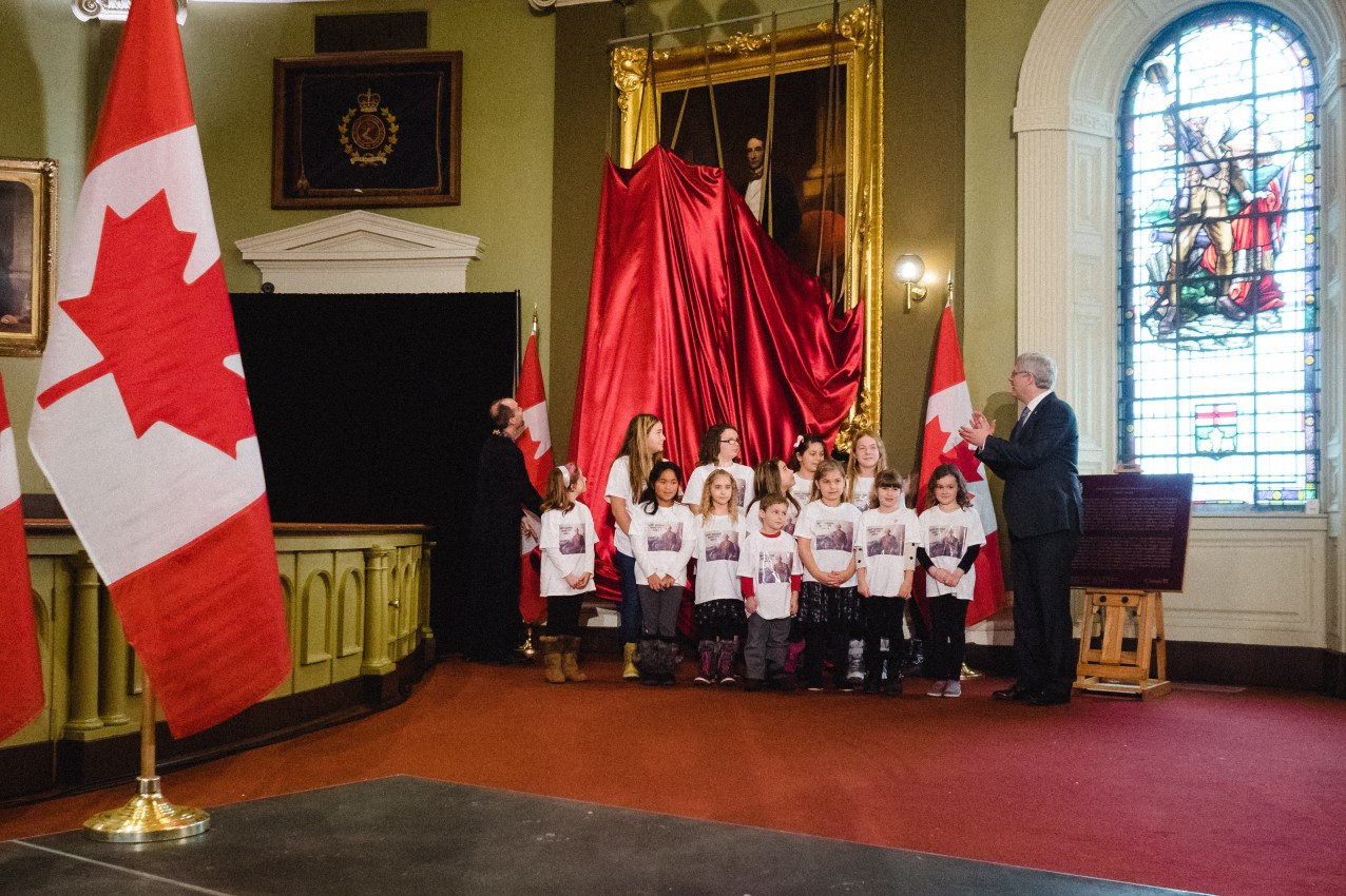 Unveiling the restored Sir John A. portrait with Prime Minister Harper - Jan. 11