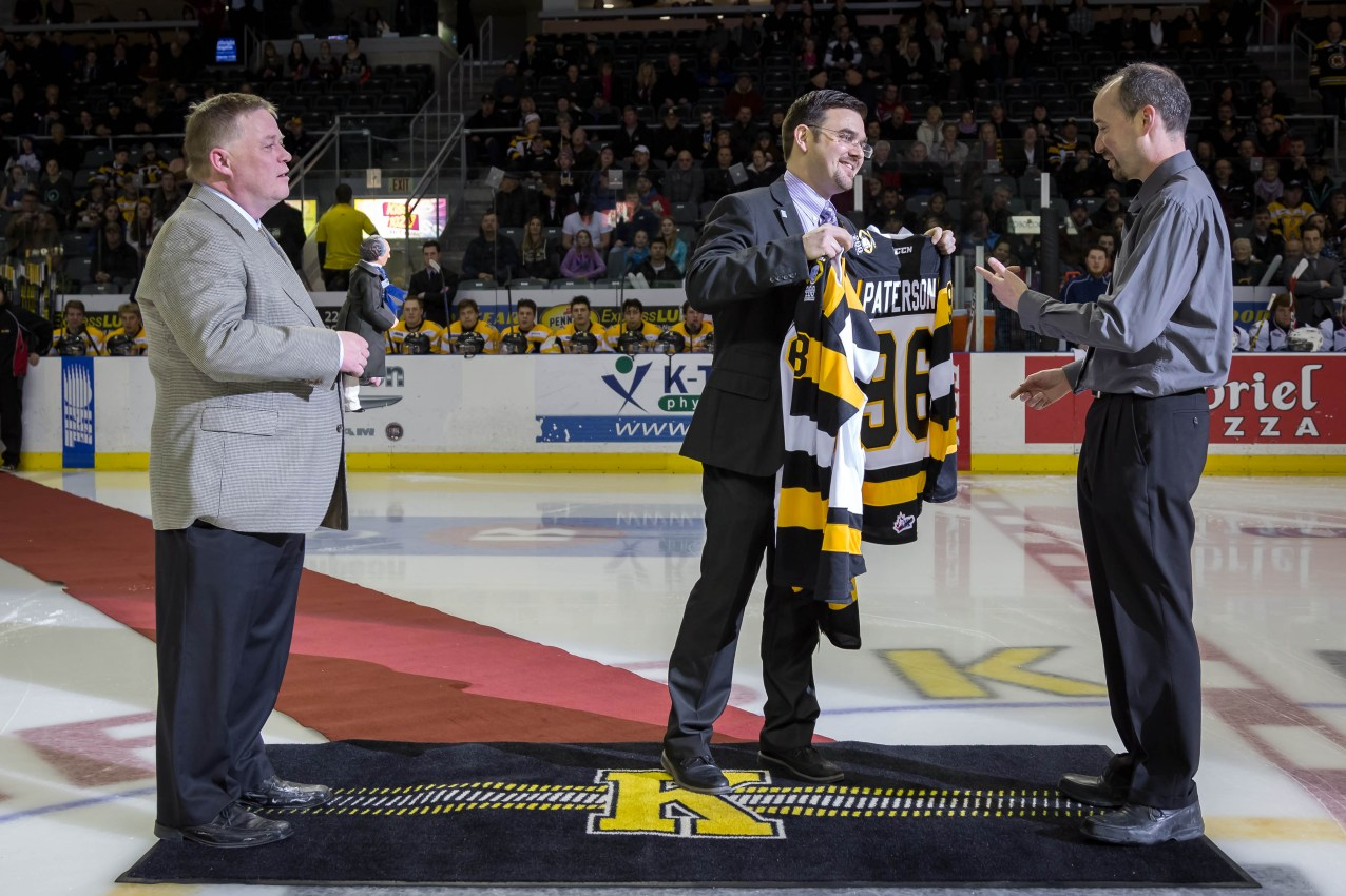 Proud to wear my Kingston Fronts jersey complete with 2015 Sir John A. commemorative patch - Jan. 9
