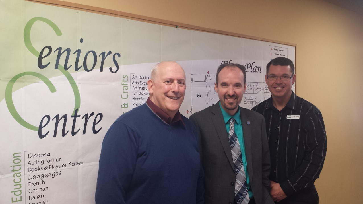 Touring the wonderful Seniors Centre with Dennis & Don - Feb. 13
