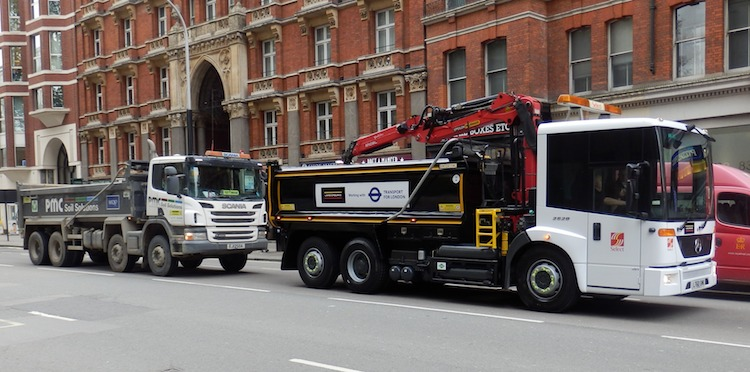 A standard HGV alongside a new cycle friendly prototype demonstrated last month by Mayor Boris Johnson and Transport for London. image: TfL