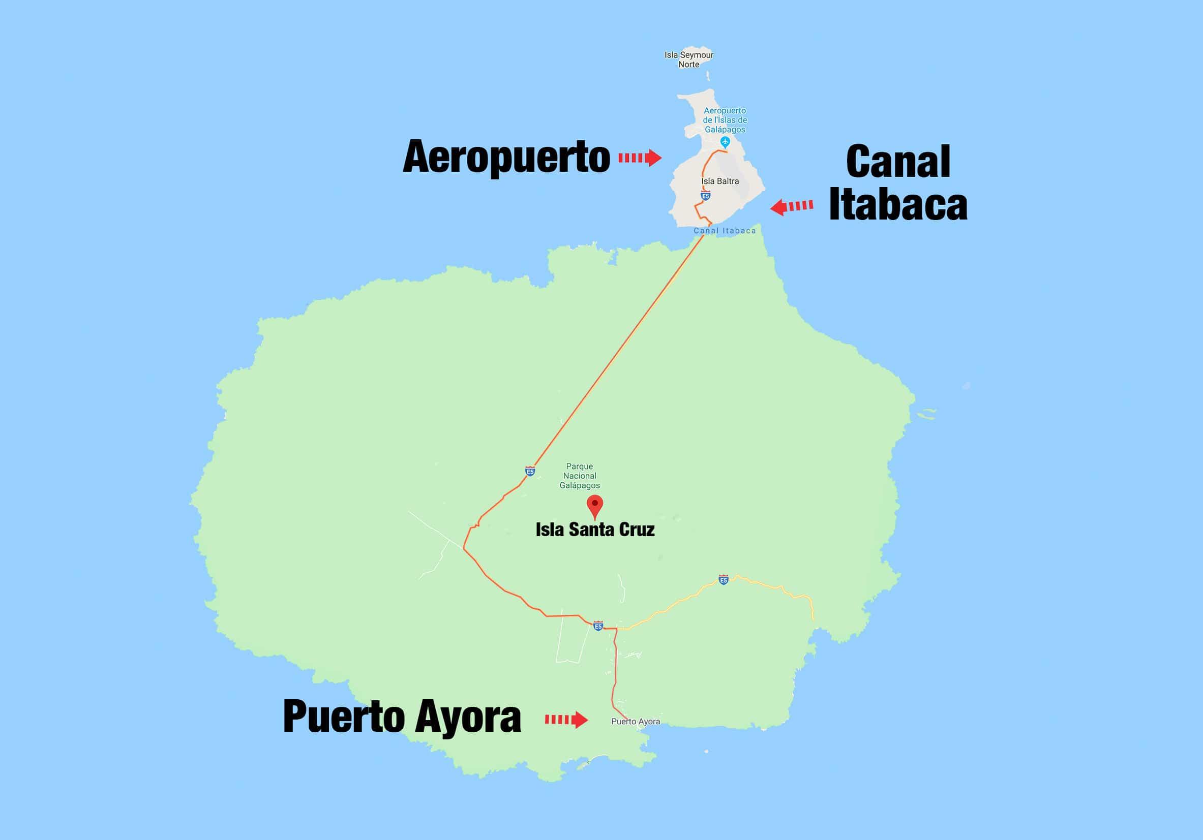Mapa de la isal Santa Cruz en Galapagos