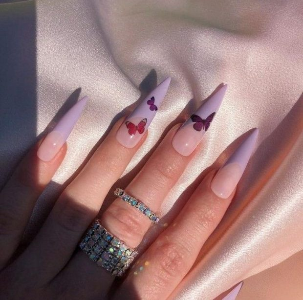 PURPLE BUTTERFLY FRENCHIES summer nail designs for 2021