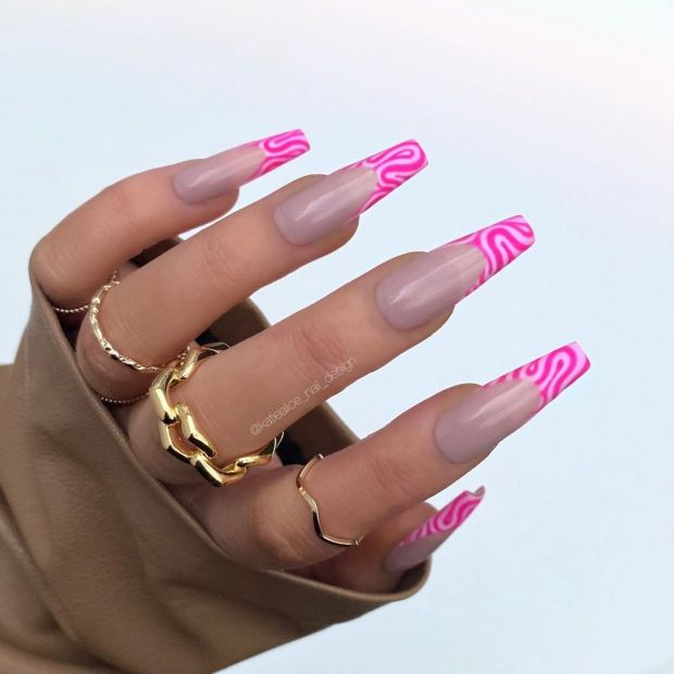 PINK SWIRLY FRENCH TIP summer nail designs for 2021